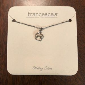 Francesca's NWT Sterling Silver Dog Print Necklace